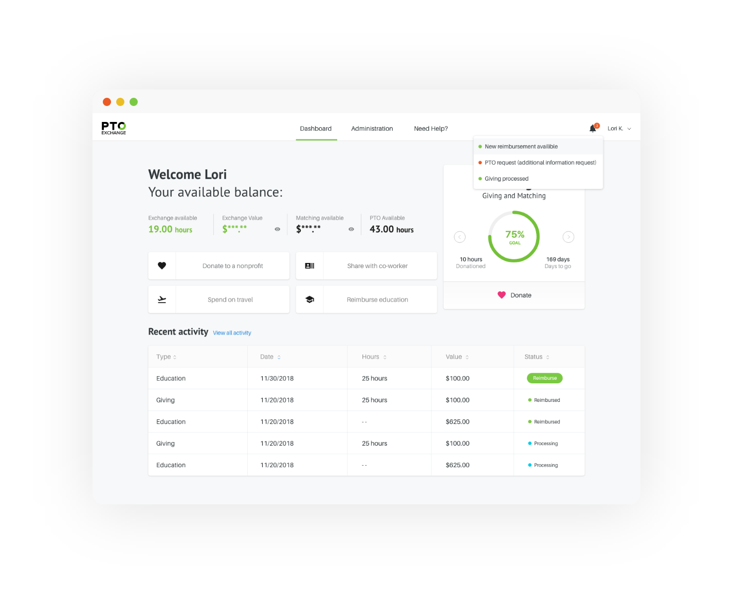 PTO-Exchange-employee-dashboard